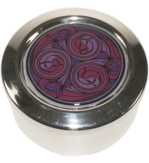 "Round Pewter Trinket Box with Red Kells Design 6.5cm (2.5"")"
