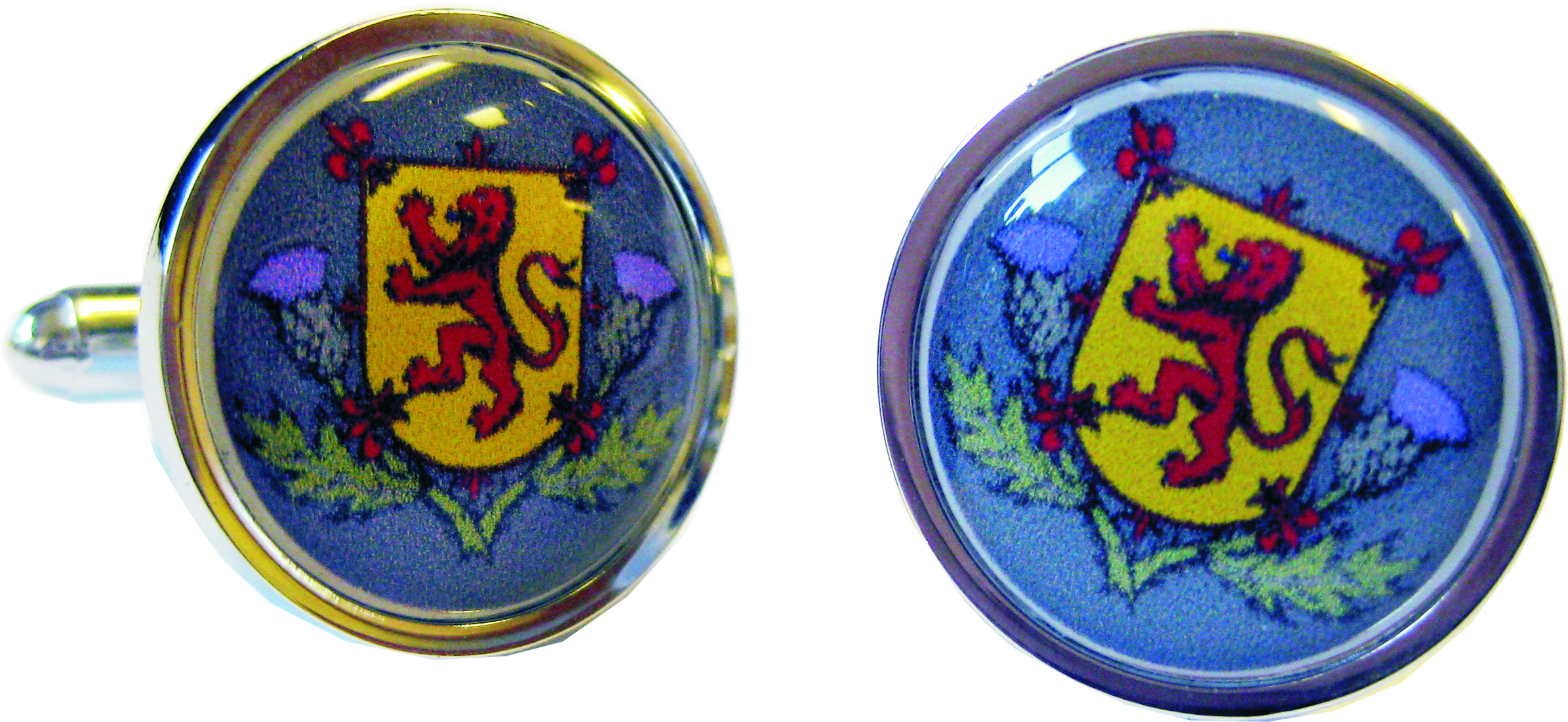 "Lion of Scotland and Thistle Nickel Plated Cufflinks in Snap Hinged Box 2.5cm dia (1"")"