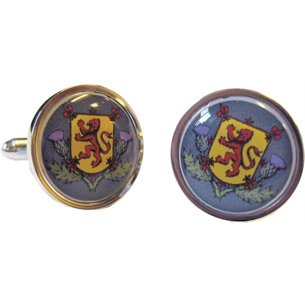 """Lion of Scotland and Thistle Nickel Plated Cufflinks in Snap Hinged Box 2.5cm dia (1"""")"""