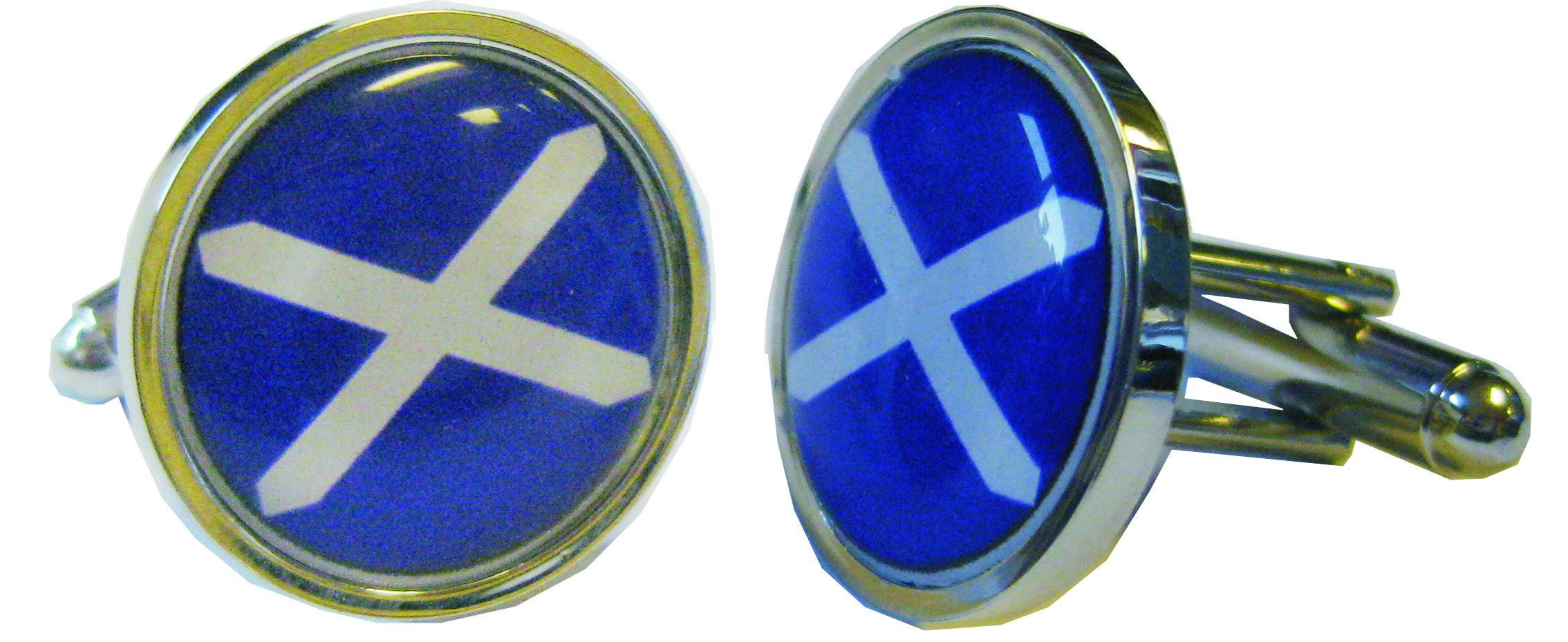 "St Andrew Flag Nickel Plated Cufflinks in Snap Hinged Box 2.5cm dia (1"")"