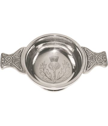 "Pewter Quaich Bowl with Thistle Engraving and Celtic Styled Handles 7cm (2.75"")"