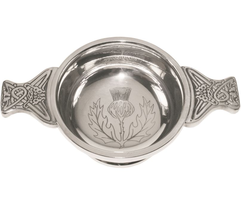"""Pewter Quaich Bowl with Thistle Engraving and Celtic Styled Handles 7cm (2.75"""")"""