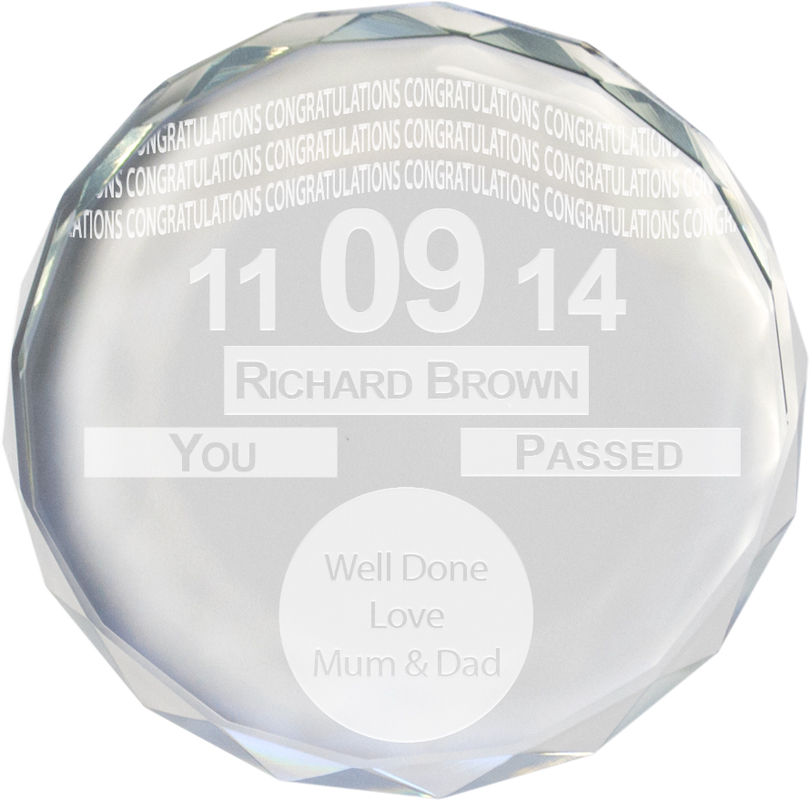 "Congratulations Tax Disc Glass Crystal Round Paperweight 9cm (3.5"")"