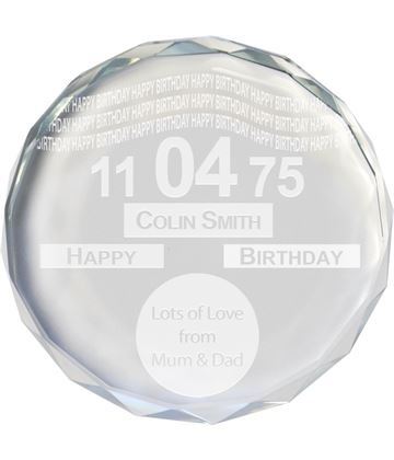 "Happy Birthday Tax Disc Glass Crystal Round Paperweight 9cm (3.5"")"