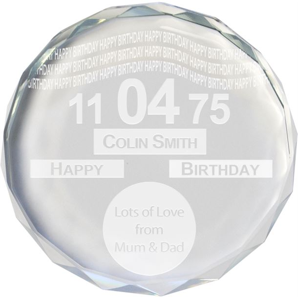 """Happy Birthday Tax Disc Glass Crystal Round Paperweight 9cm (3.5"""")"""
