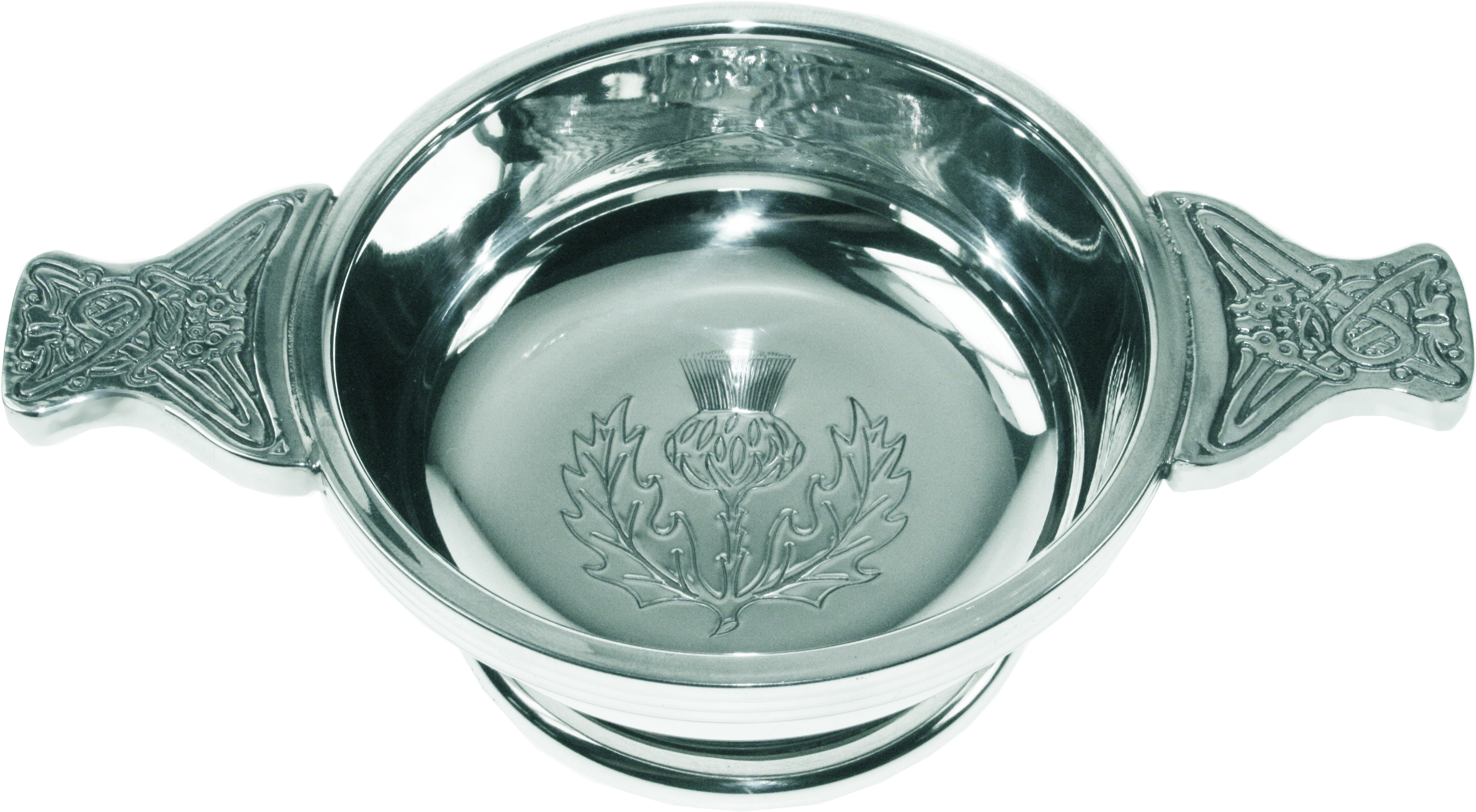 "Pewter Quaich Bowl with Thistle Engraving and Celtic Styled Handles 9cm (3.5"")"