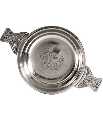 "Pewter Quaich Bowl with Thistle Engraving and Celtic Styled Handles 10cm (4"")"