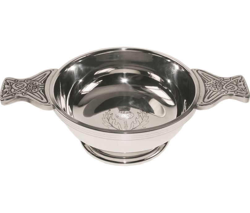 "Pewter Quaich Bowl with Thistle Engraving and Celtic Styled Handles 11.5cm (4.5"")"