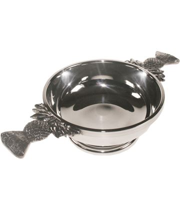 "Pewter Quaich Bowl with Thistle Detailed Handles 11.5cm (4.5"")"