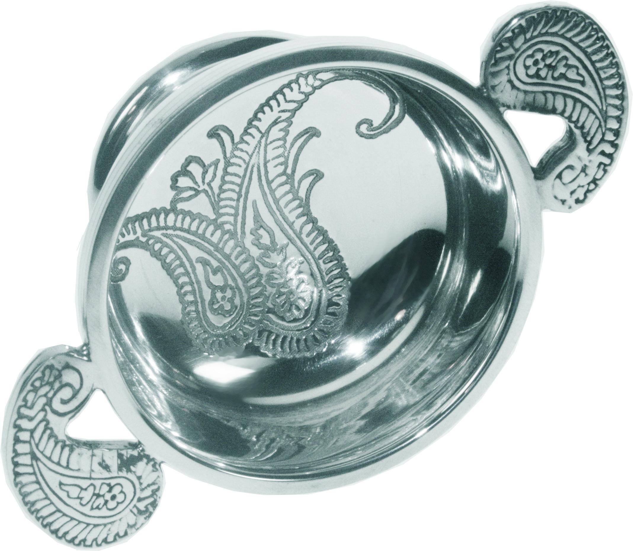 "Spun Pewter Quaich Bowl with a Paisley Design 7cm (2.75"")"