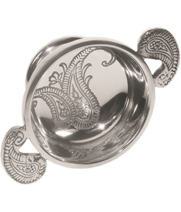 "Spun Pewter Quaich Bowl with a Paisley Design 7cm (2.75"")"