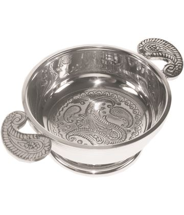 "Spun Pewter Quaich Bowl with a Paisley Design 9cm (3.5"")"