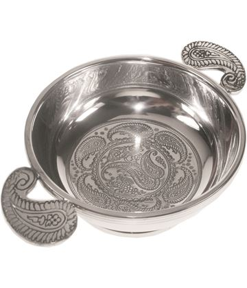 "Spun Pewter Quaich Bowl with a Paisley Design 11.5cm (4.5"")"