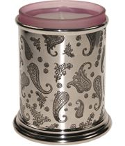 """Pewter Paisley Candle Votive and Candle 9cm (3.5"""")"""
