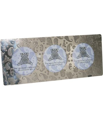"Silver Pewter Triple Photo Frame with Paisley Detail 11cm (4.25"")"