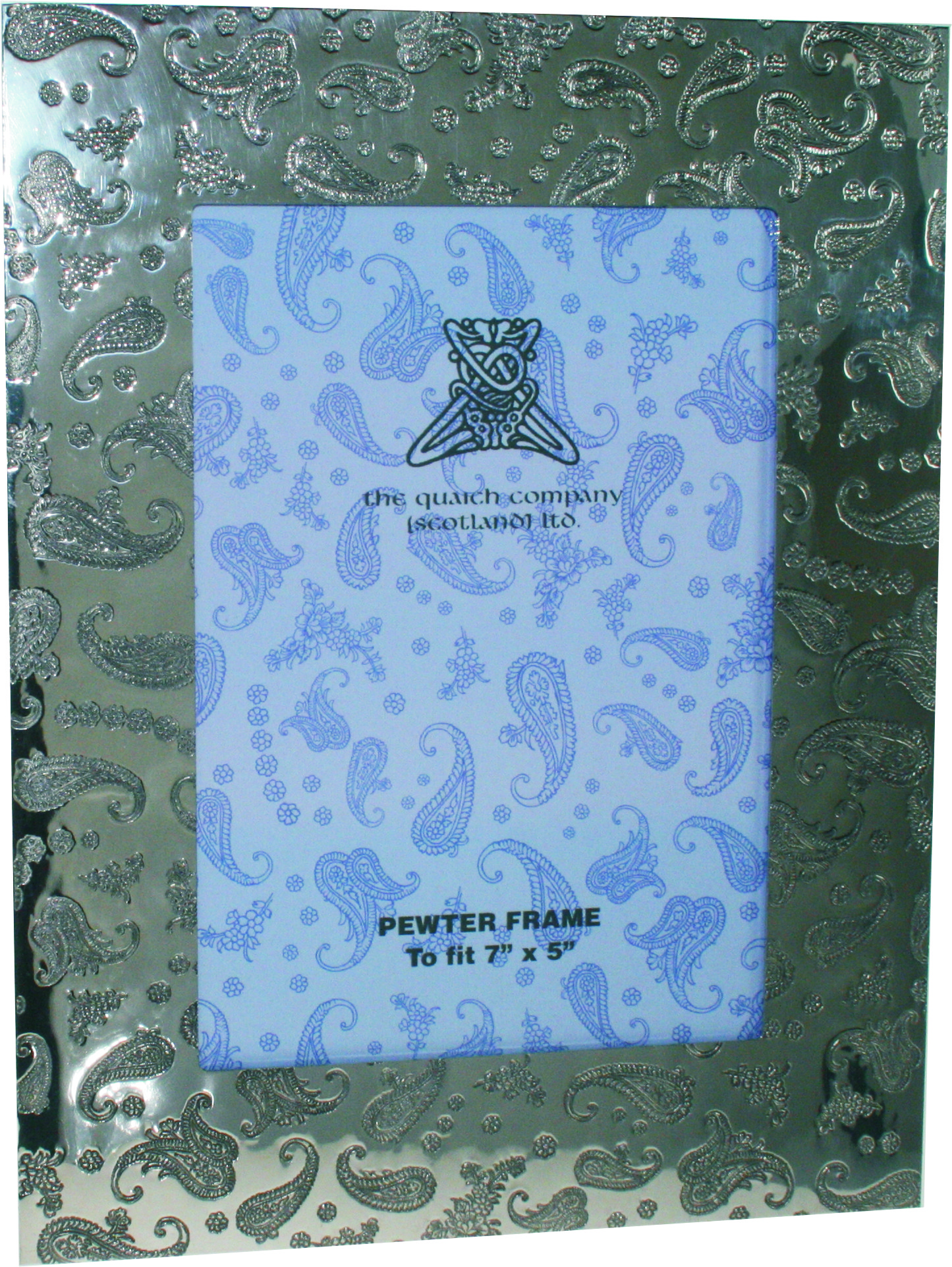 "Silver Pewter Photo Frame with Paisley Detail 24.5cm (9.5"")"