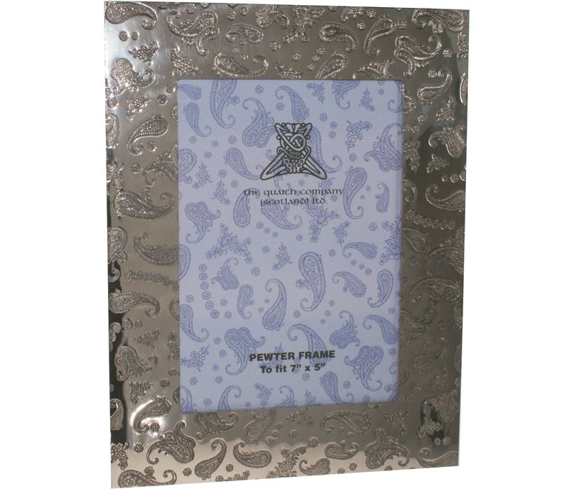 """Silver Pewter Photo Frame with Paisley Detail 24.5cm (9.5"""")"""