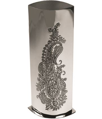 "Pewter Bud Vase with Single Paisley Pattern 16cm (6.25"")"