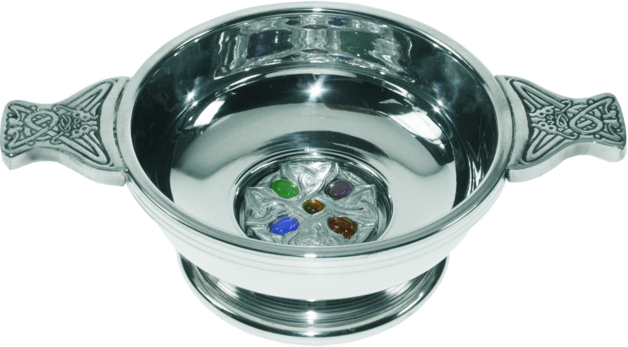 "Pewter Quaich Bowl with Celtic Cross and Embedded Gems 9cm (3.5"")"