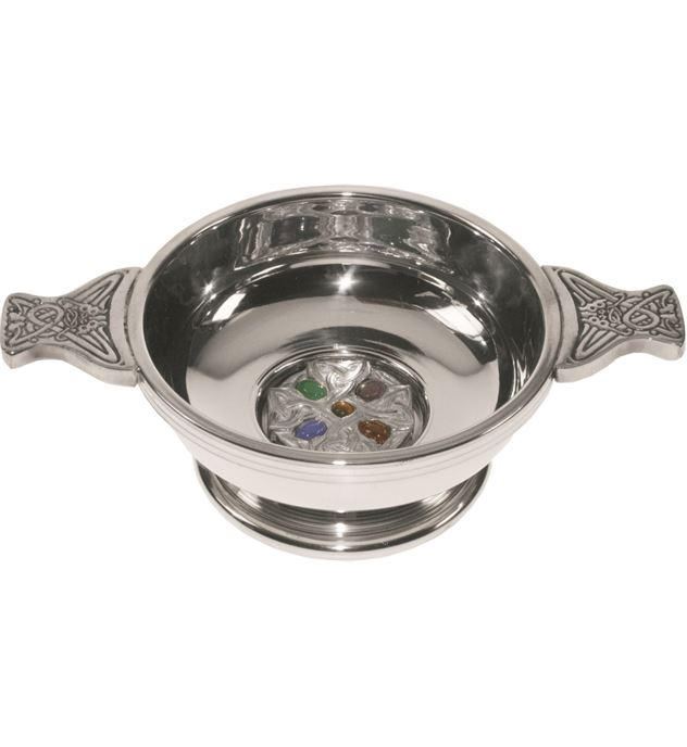 """Pewter Quaich Bowl with Celtic Cross and Embedded Gems 9cm (3.5"""")"""
