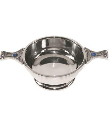 "Pewter Quaich Bowl with Celtic Detailing and Gem Handle 9cm (3.5"")"