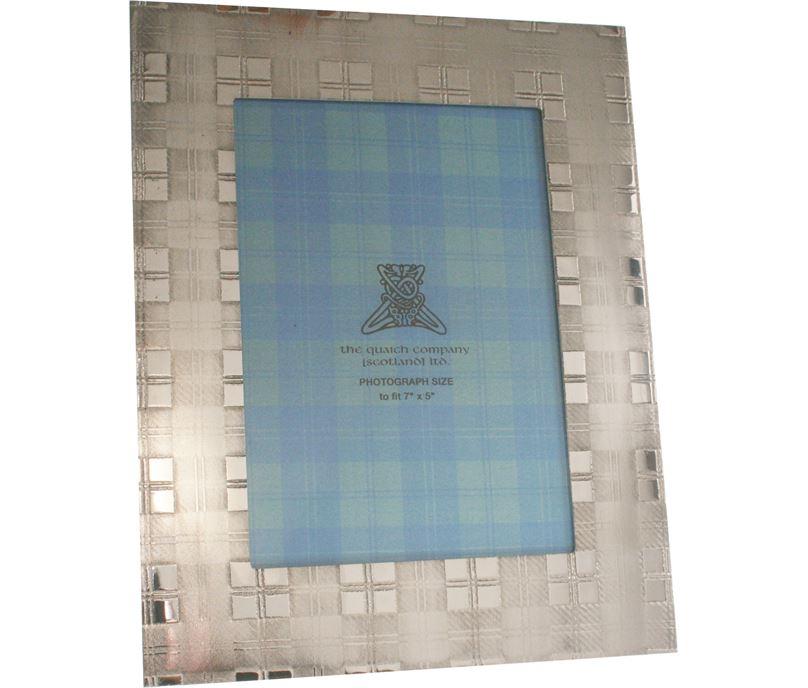 "Silver Pewter Photo Frame with Tartan Detail 24.5cm (9.5"")"