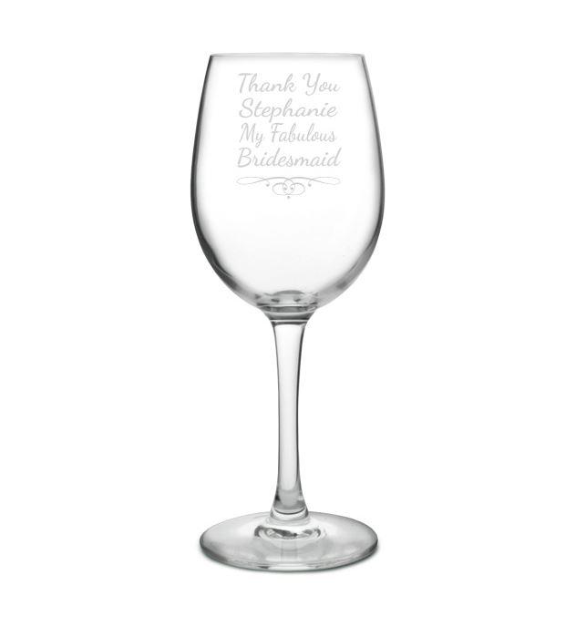 "Large Personalised Wine Glass - Fabulous Bridesmaid 20.5cm (8"")"
