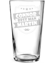 "Best Man Retro Shield Personalised Pint Glass 15cm (6"")"