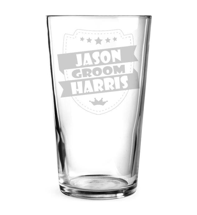 """Groom Retro Shield Personalised Pint Glass 15cm (6"""")"""