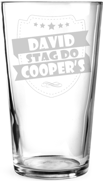 "Stag Do Retro Shield Personalised Pint Glass 15cm (6"")"