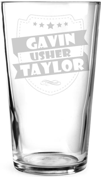"Wedding Usher Retro Shield Personalised Pint Glass 15cm (6"")"
