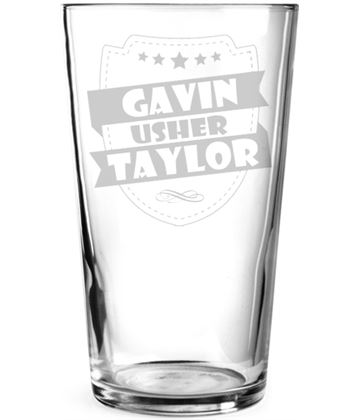"Wedding Usher Retro Shield Personalised Pint Glass 15cm (6"")"