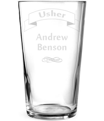 "Wedding Usher Ribbon Design Personalised Pint Glass 15cm (6"")"