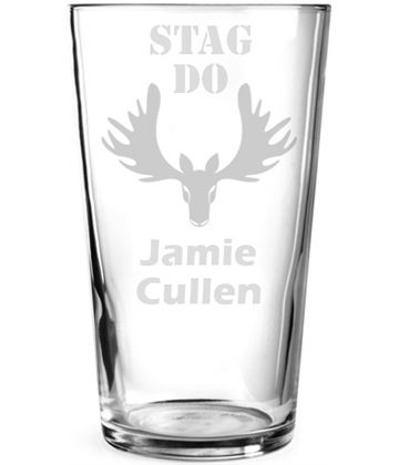 "Stag's Head Design Personalised Pint Glass 15cm (6"")"