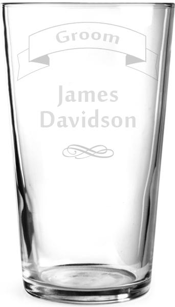 "Wedding Groom Ribbon Design Personalised Pint Glass 15cm (6"")"