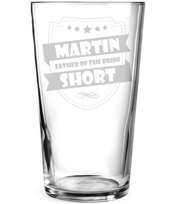 "Father of the Bride Retro Shield Design Personalised Pint Glass 15cm (6"")"