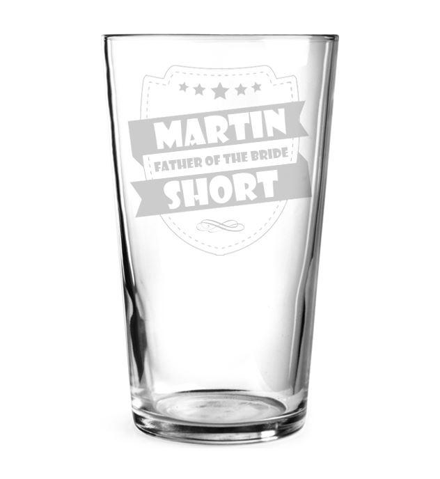 "Father of the Bride Retro Shield Design Personalised Pint Glass 15cm (6"")"