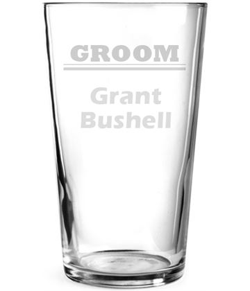 "Plain Wedding Groom Personalised Pint Glass 15cm (6"")"