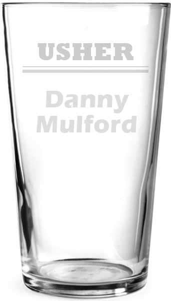 "Plain Wedding Usher Personalised Pint Glass 15cm (6"")"