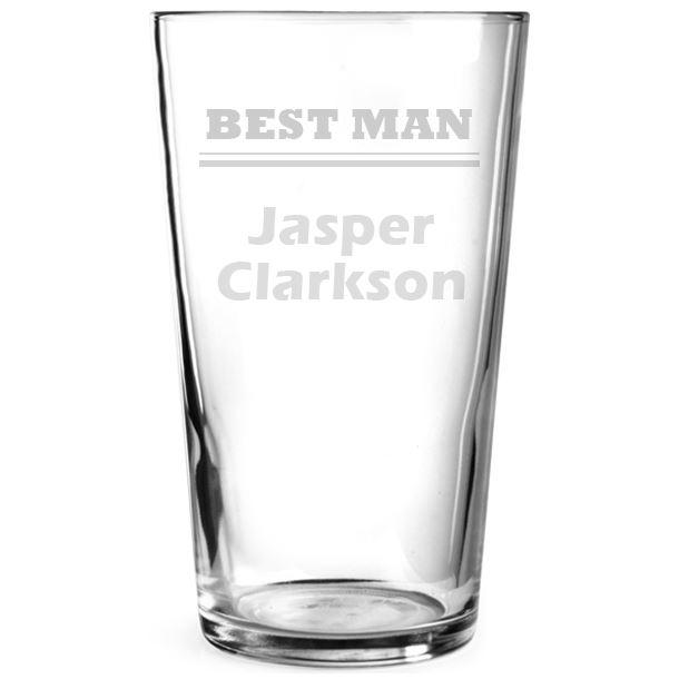 "Best Man Personalised Pint Glass 15cm (6"")"