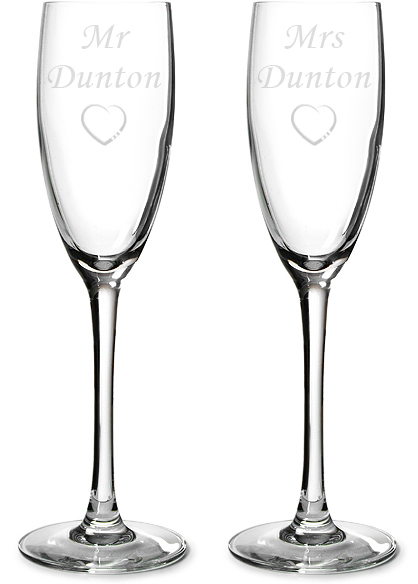 """Mr & Mrs Personalised Champagne Flutes 22.5cm (8.75"""")"""