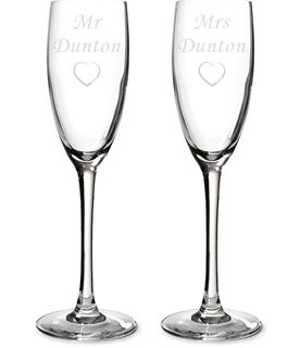 "Mr & Mrs Personalised Champagne Flutes 22.5cm (8.75"")"