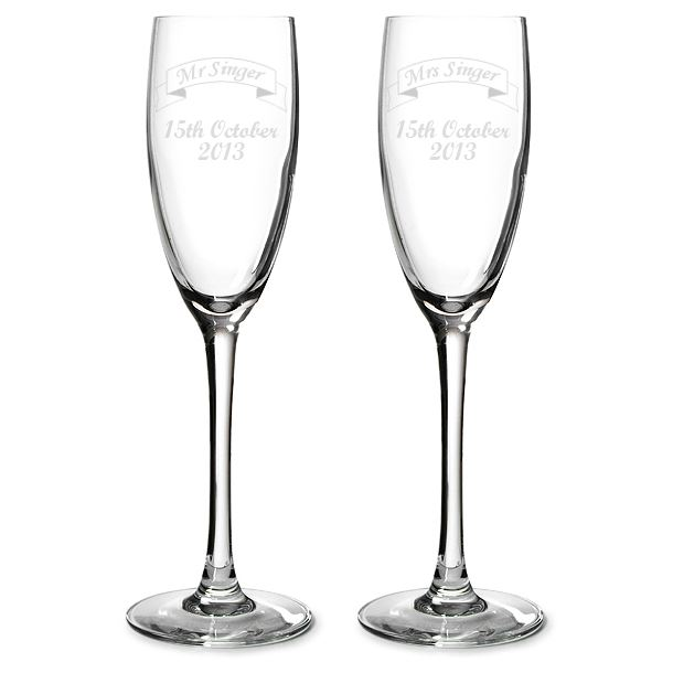 "Mr & Mrs Personalised Champagne Flutes Ribbon Design 22.5cm (8.75"")"