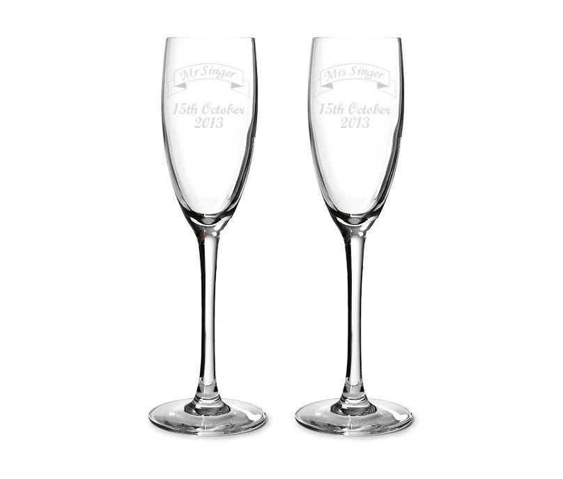 "Mr & Mrs Personalised Champagne Flutes Ribbon Design 22.5cm (8.75"")"