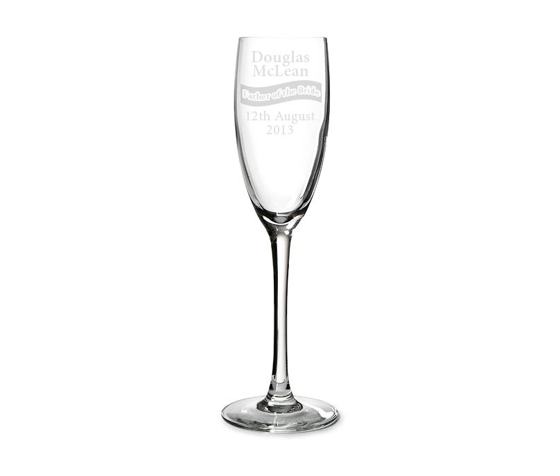 "Father of the Bride Personalised Champagne Flute Ribbon Design 22.5cm (8.75"")"