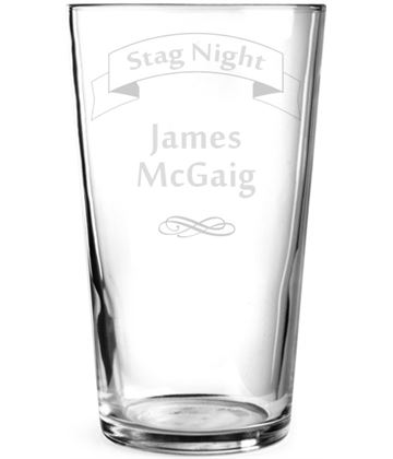 "Stag Do Ribbon Design Personalised Pint Glass 15cm (6"")"