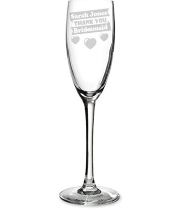 "Bridesmaid Personalised Champagne Flute Heart Design 22.5cm (8.75"")"