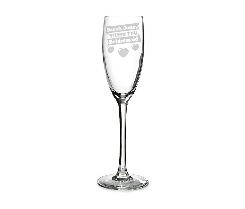 "Bridesmaid Personalised Champagne Flute Heart Design 22.5cm (8.75"")"
