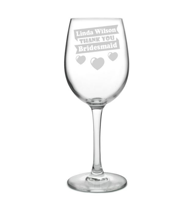"Large Personalised Wine Glass - Bridesmaid Heart Design 20.5cm (8"")"