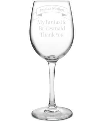 "Large Personalised Wine Glass - Bridesmaid Ribbon Design 20.5cm (8"")"